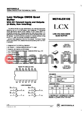 MC74LCX125 datasheet - LOW-VOLTAGE CMOS QUAD BUFFER