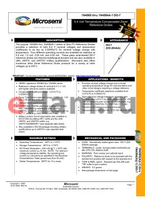 JANTXV1N4568A-2 datasheet - 6.4 Volt Temperature Compensated Zener Reference Diodes