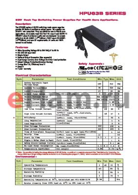 HPU63B-107 datasheet - 63W Desk Top Swithching Power Supplies For health Care Applications