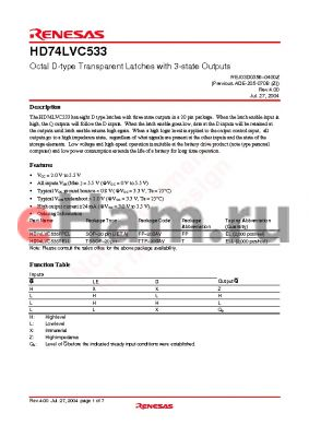 HD74LVC533TELL datasheet - Octal D-type Transparent Latches with 3-state Outputs
