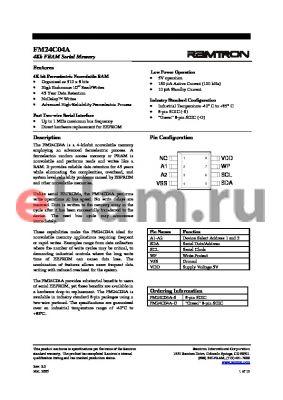 FM24C04A-G datasheet - 4Kb FRAM Serial Memory