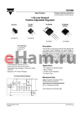 GS1086CT5 datasheet - 1.5A Low Dropout Positive Adjustable Regulator