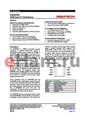 FM24V02-G datasheet - 256Kb Serial 3V F-RAM Memory