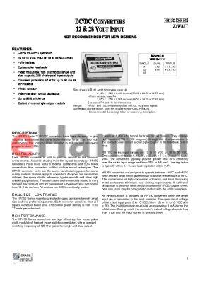 HR152-2812 datasheet - DC/DC Converters 12 & 28 Volt Input