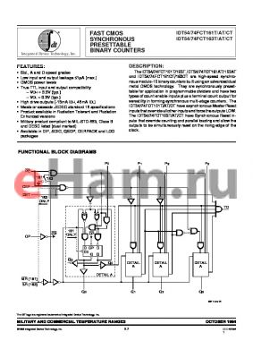 IDT74FCT161ATLB datasheet - FAST CMOS SYNCHRONOUS PRESETTABLE BINARY COUNTERS