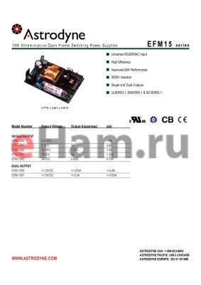 EFM-1503 datasheet - 15W Ultraminiature Open Frame Switching Power Supplies