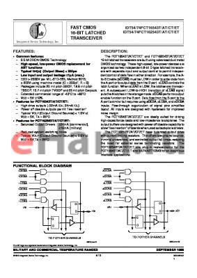 IDT74FCT162543ATPV datasheet - FAST CMOS 16-BIT LATCHED TRANSCEIVER