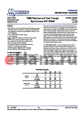 GS8160ZV18CGT-250 datasheet - 18Mb Pipelined and Flow Through Synchronous NBT SRAM