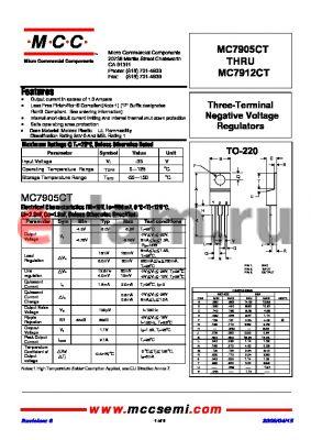 MC7908CT-BP datasheet - Three-Terminal Negative Voltage Regulators