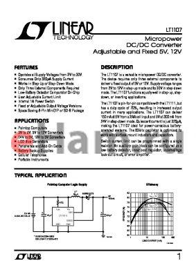LT1107CS8 datasheet - Micropower DC/DC Converter Adjustable and Fixed 5V, 12V