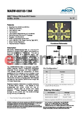 MASW-003103-1364 datasheet - HMICTM Silicon PIN Diode SP3T Switch 50 MHz - 20 GHz