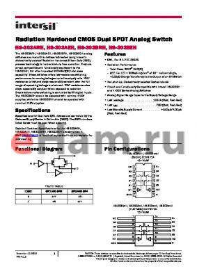 HS0-303AEH-Q datasheet - Radiation Hardened CMOS Dual SPDT Analog Switch