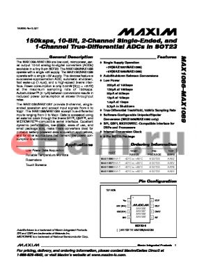 MAX1086 datasheet - 150ksps, 10-Bit, 2-Channel Single-Ended, and 1-Channel True-Differential ADCs in SOT23
