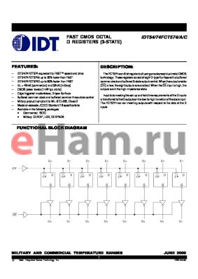 IDT74FCT574CD datasheet - FAST CMOS OCTAL D REGISTERS (3-STATE)