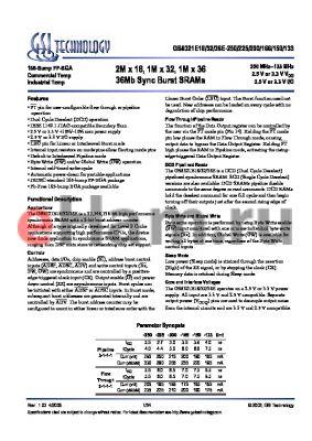 GS8321E36E-133I datasheet - 2M x 18, 1M x 32, 1M x 36 36Mb Sync Burst SRAMs