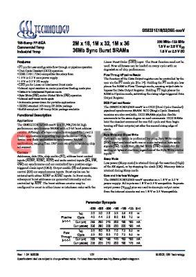 GS8321E36E-133IV datasheet - 2M x 18, 1M x 32, 1M x 36 36Mb Sync Burst SRAMs