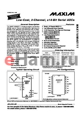 MAX111AEPE datasheet - Low-Cost, 2-Channel, a14-Bit Serial ADCs