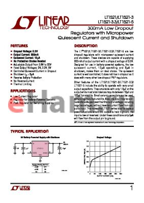 LT1521CS8-3.3 datasheet - 300mA Low Dropout Regulators with Micropower Quiescent Current and Shutdown