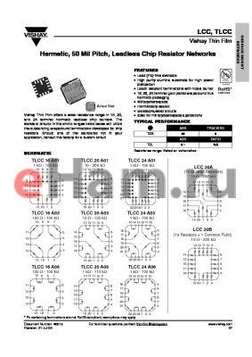 LCC20AH12R5FT1 datasheet - Hermetic, 50 Mil Pitch, Leadless Chip Resistor Networks