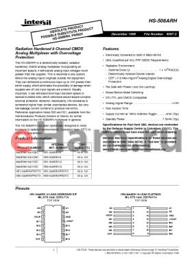HS9-508ARH datasheet - Radiation Hardened 8 Channel CMOS Analog Multiplexer with Overvoltage Protection