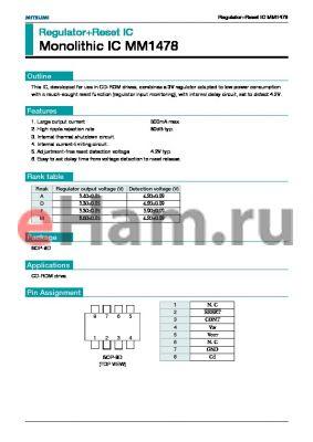 MM1478 datasheet - RegulatorReset IC