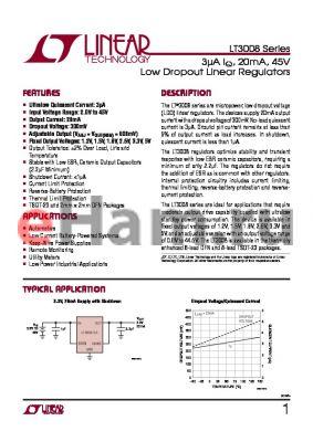 LT1761 datasheet - 3lA IQ, 20mA, 45V Low Dropout Linear Regulators