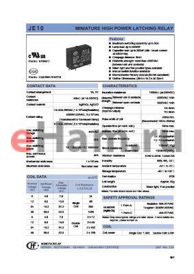 JE1016HL1 datasheet - MINIATURE HIGH POWER LATCHING RELAY