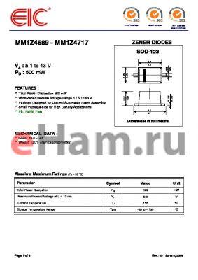 MM1Z4700 datasheet - ZENER DIODES