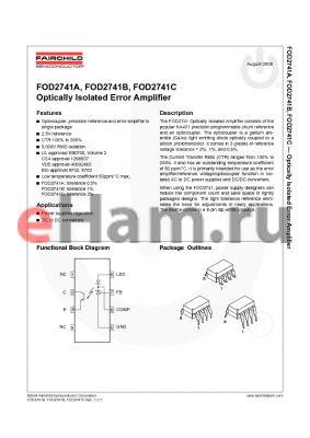 FOD2741BS datasheet - Optically Isolated Error Amplifier