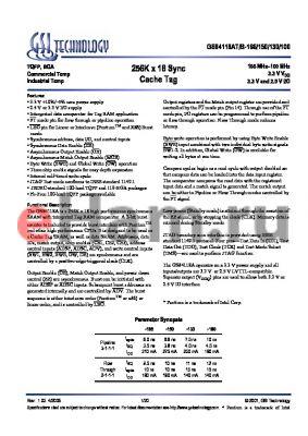 GS84118AT-166I datasheet - 256K x 18 Sync Cache Tag