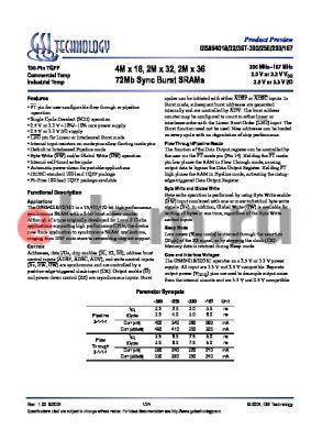 GS864032GT-250 datasheet - 4M x 18, 2M x 32, 2M x 36 72Mb Sync Burst SRAMs