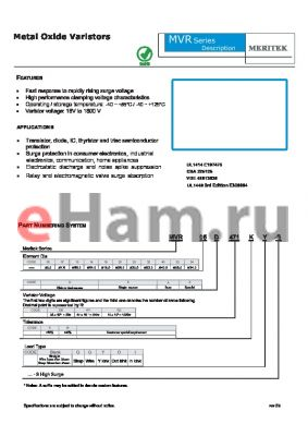 MVR10X102KI-S datasheet - Metal Oxide Varistors