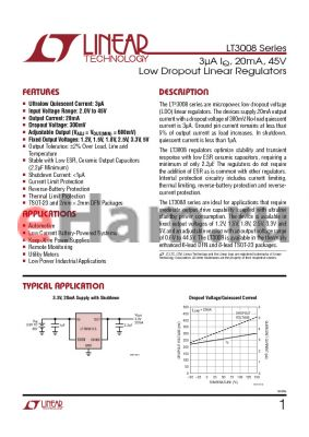 LT3008EDC-1.8PBF datasheet - 3lA IQ, 20mA, 45V Low Dropout Linear Regulators
