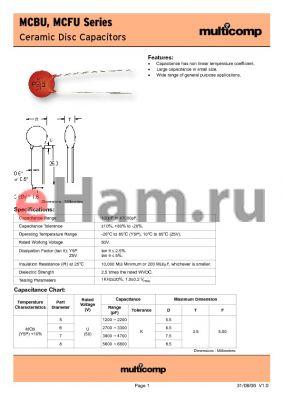 MCFU6332K5 datasheet - Ceramic Disc Capacitors