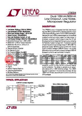 LT3024 datasheet - Dual 100mA/500mA Low Dropout, Low Noise,Micropower Regulator