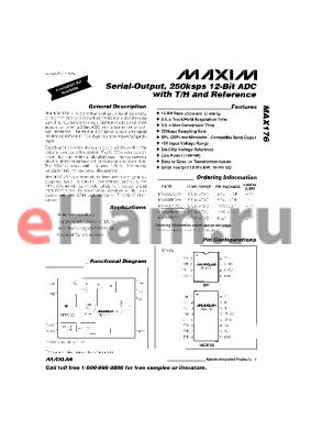 MAX176 datasheet - Serial-Output, 250Ksps 12-Bit ADC with T/H and Refernce