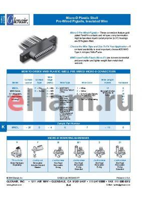 MWDL-21S-8E1-18 datasheet - Micro-D Plastic Shell