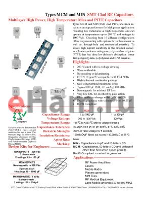 MCM01-009ED090A-T datasheet - SMT Clad RF Capacitors Multilayer High Power, High Temperature Mica and PTFE Capacitors