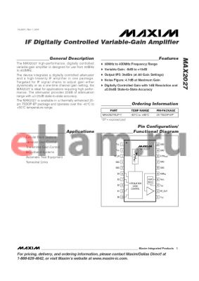MAX2027 datasheet - IF Digitally Controlled Variable-Gain Amplifier