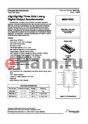 MMA7455L datasheet - a2g/a4g/a8g Three Axis Low-g Digital Output Accelerometer