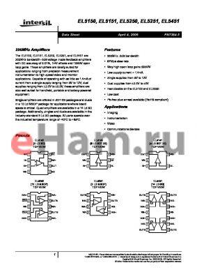 EL5251IY datasheet - 200MHz Amplifiers