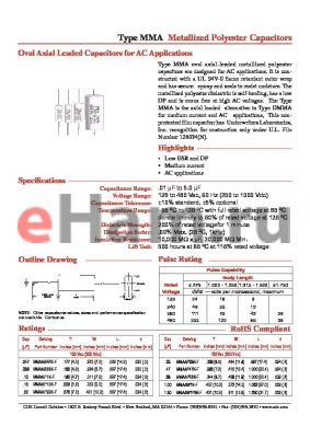 MMADP1K-F datasheet - Metallized Polyester Capacitors Oval Axial Leaded Capacitors for AC Applications