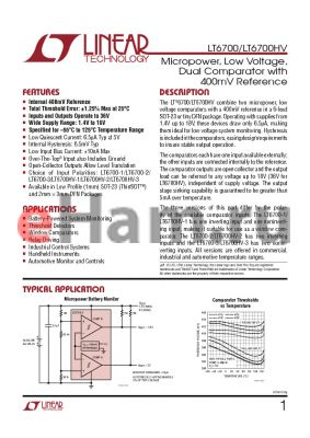 LT6700HVHS6-2-TRPBF datasheet - Micropower, Low Voltage, Dual Comparator with 400mV Reference
