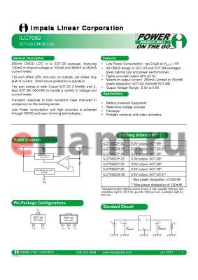 ILC7062CP-50 datasheet - SOT-23 CMOS LDO