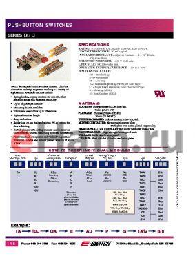 LT6UOACAUPNTACBLK datasheet - PUSHBUTTON SWITCHES