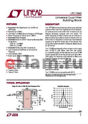 LTC1060 datasheet - Universal Dual Filter Building Block