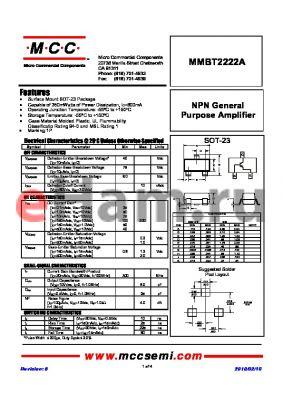 MMBT2222A datasheet - NPN General Purpose Amplifier
