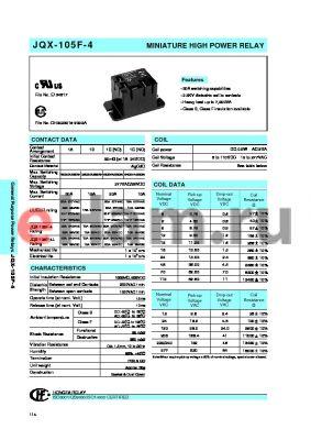 JQX-105-4LACK1ZS datasheet - MINIATURE HIGH POWER RELAY
