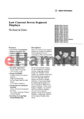 HDSP-G103-EG000 datasheet - Low Current Seven Segment Displays