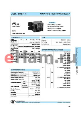 JQX-105F-4L/120A1DF datasheet - MINIATURE HIGH POWER RELAY